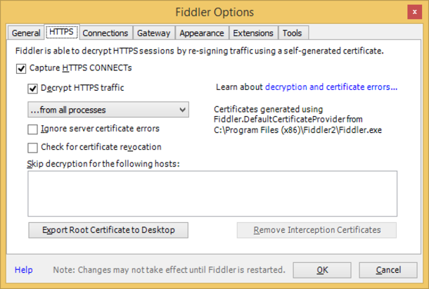 Fiddler HTTPS settings