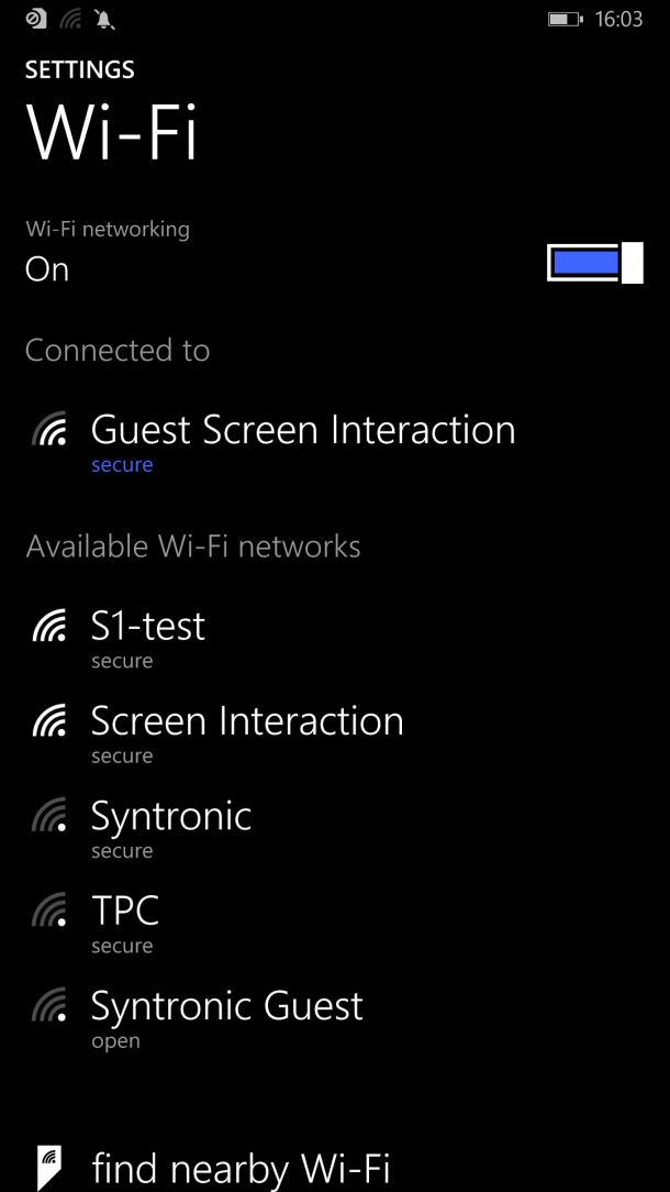 Windows Phone wifi network list