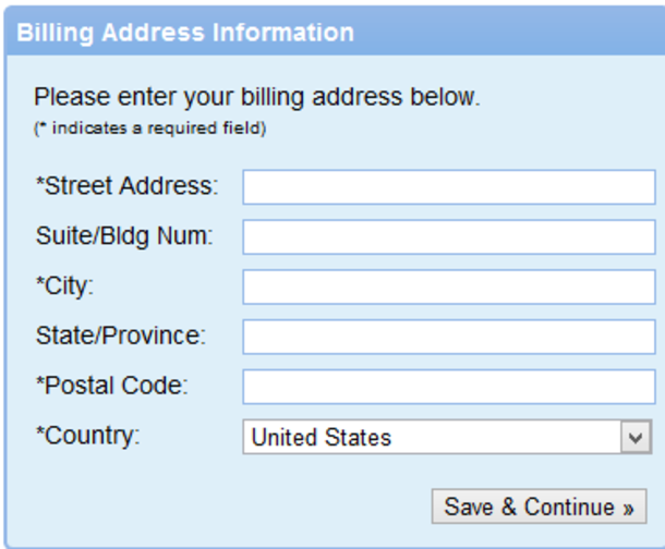 Registration form billing address information