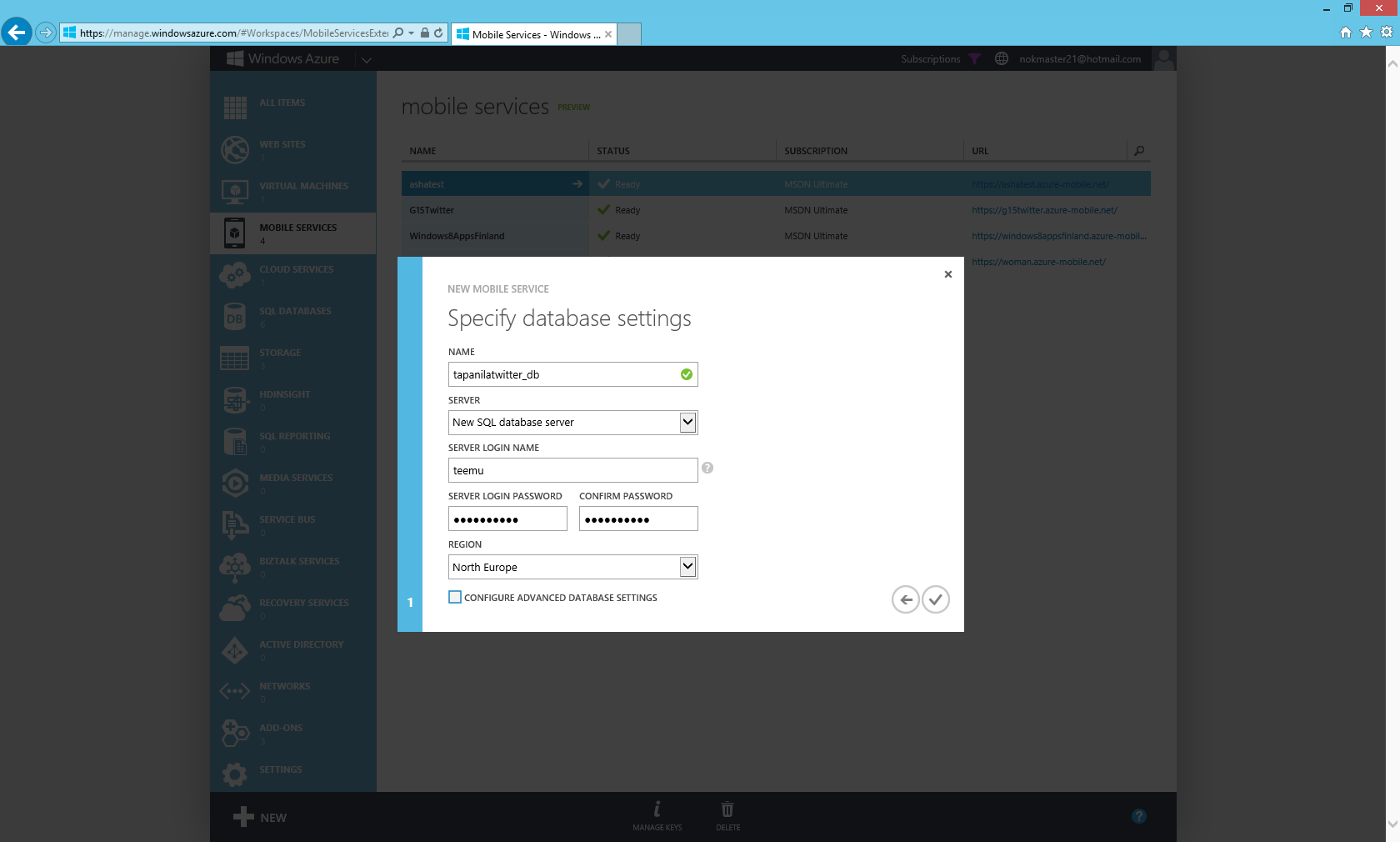 Create new windows azure mobile service part 2