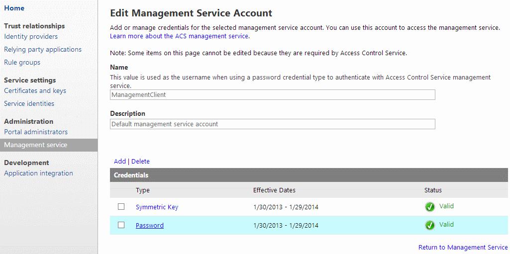 AccessControlServiceManagementServicePassword