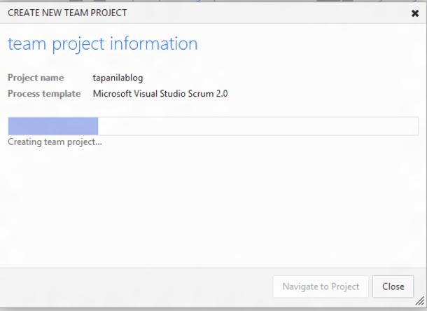 Creating new project progress