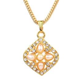 TulipMash BeautiFul Diamond Shape Locket With White Moti  Premium Locket For Girls & Women (Pack Of -1)