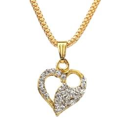 TulipMash BeautiFul  Heart  With Stones Premium Locket For Girls & Women (Pack Of -1)