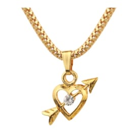 TulipMash BeautiFul Small  Heart Pierced Arrow With Stones Premium Locket With Stones For  Everyone Boy, Girl, Men & women  (Pack Of -1)