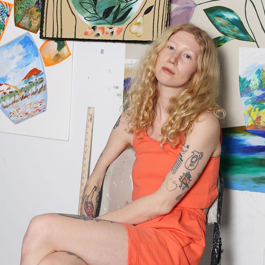 Laura Burke artist studio large abstract