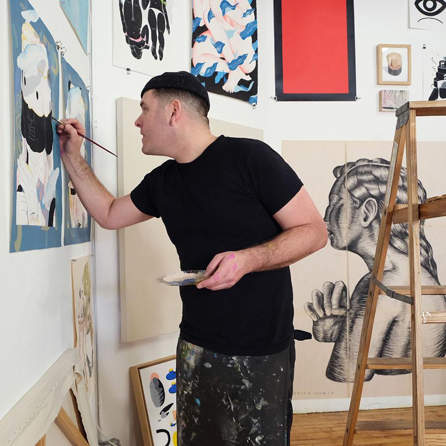 Painter Bryce Wymer in studio