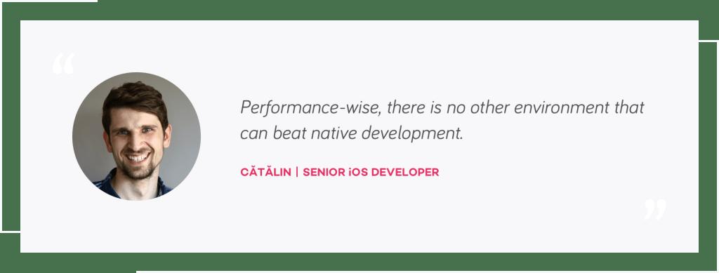 Catalin quote, Senior iOS Developer   native mobile development or react native   tapptitude blog