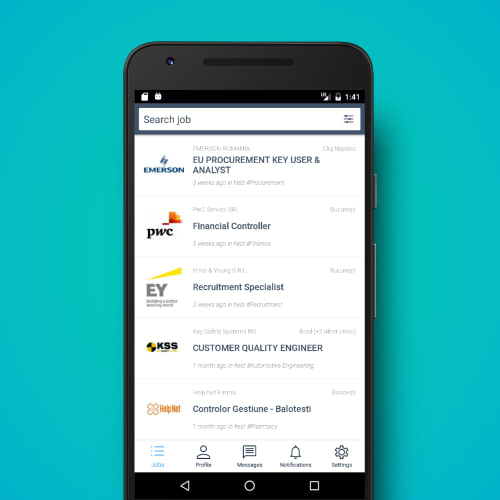 SmartDreamers Android app developed by tapptitude - Job search filters