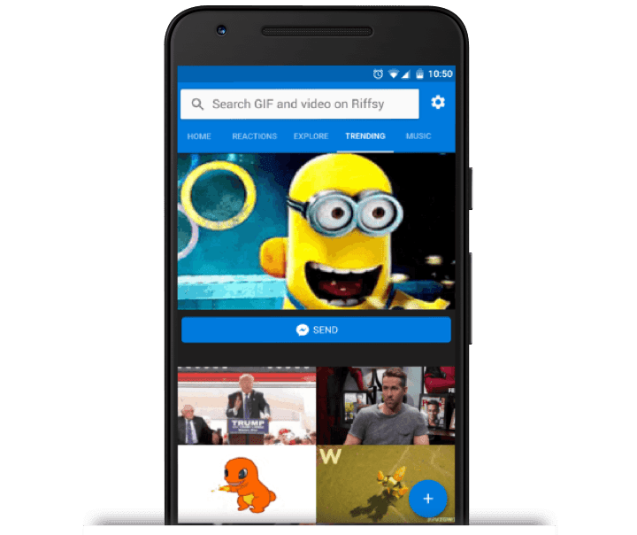 Search and send an emotial gif anytime with riffsy