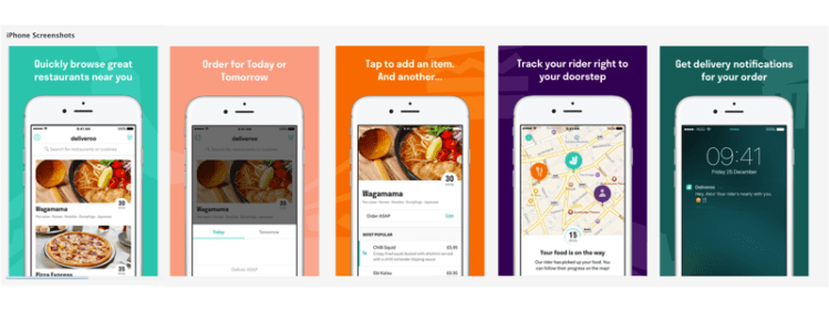 Deliveroos App Store images - User Onboarding framework by tapptitude