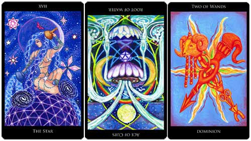 The Star - Ace of Cups reversed - 2 of Wands from the Rosetta Tarot