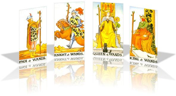 universal rider waite smith tarot wands court cards