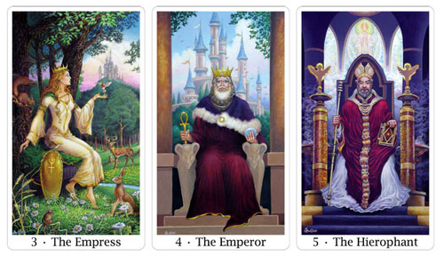 empress emperor and hierophant from sacred isle tarot