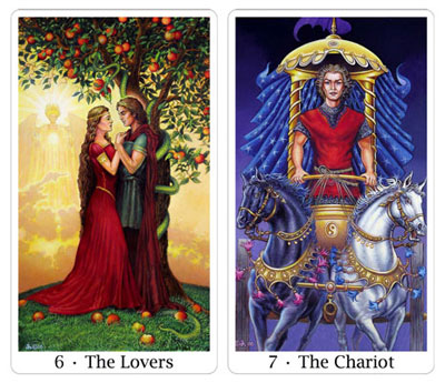 lovers and chariot from sacred isle tarot