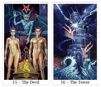 devil and tower from sacred isle tarot