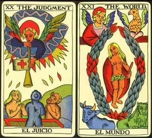 judgement and world from tarot de marseille