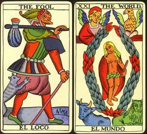 fool and world from tarot de marseille
