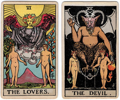 lovers and devil from 1909 rider tarot