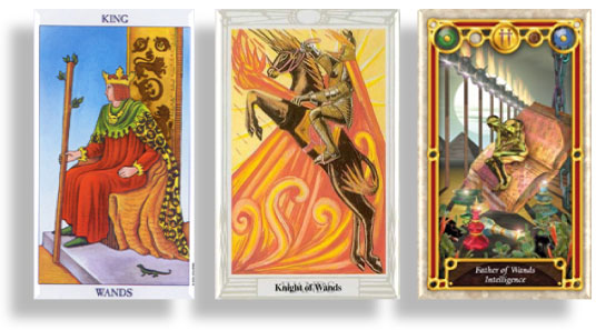 tarot court cards king, knight and father of wands