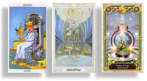 tarot court cards queen of cups and mother of cups