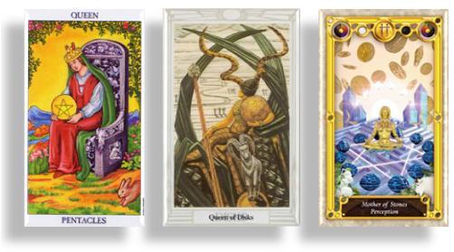 tarot court cards queen of pentacles, queen of disks and mother of stones