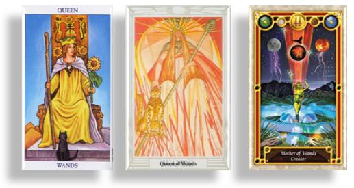 tarot court cards queen of wands and mother of wands
