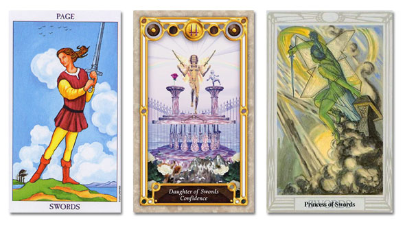 tarot court cards, page of swords, princess of swords, daughter of swords