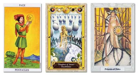 tarot court cards, page of pentacles, daughter of stones and princess of disks
