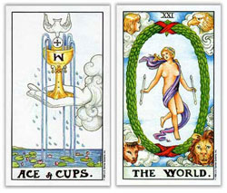 universal rider waite tarot ace of cups and judgement