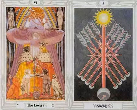 thoth tart lovers and nine of wands