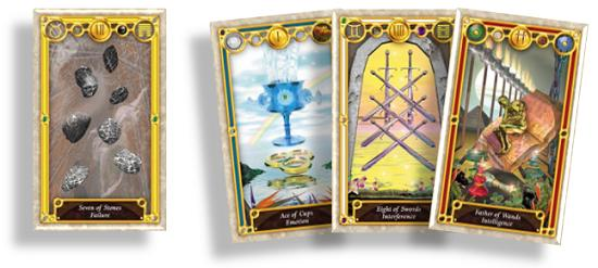 The new linear triplet of Tarot cards ready for Elemental Dignity analysis