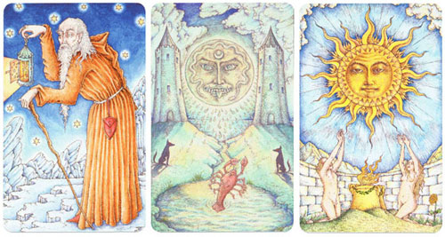 The Virgo major arcana cards related through the number nine: the Hermit - 9, the Moon - 18 & the Sun - 19