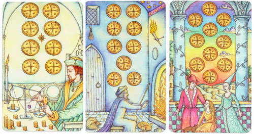 Virgo through the  decans: 8, 9 & 10 of Coins (Pentacles)