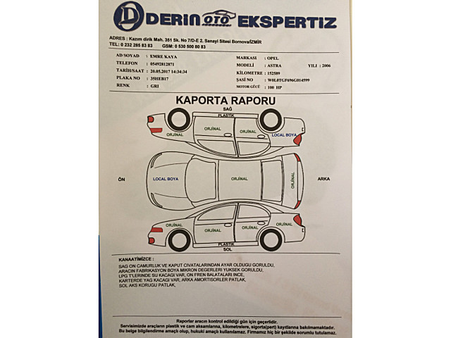 Opel Astra 2006 Değişensiz