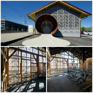 Norveç'te tren istasyonunda bir bisiklet parkı