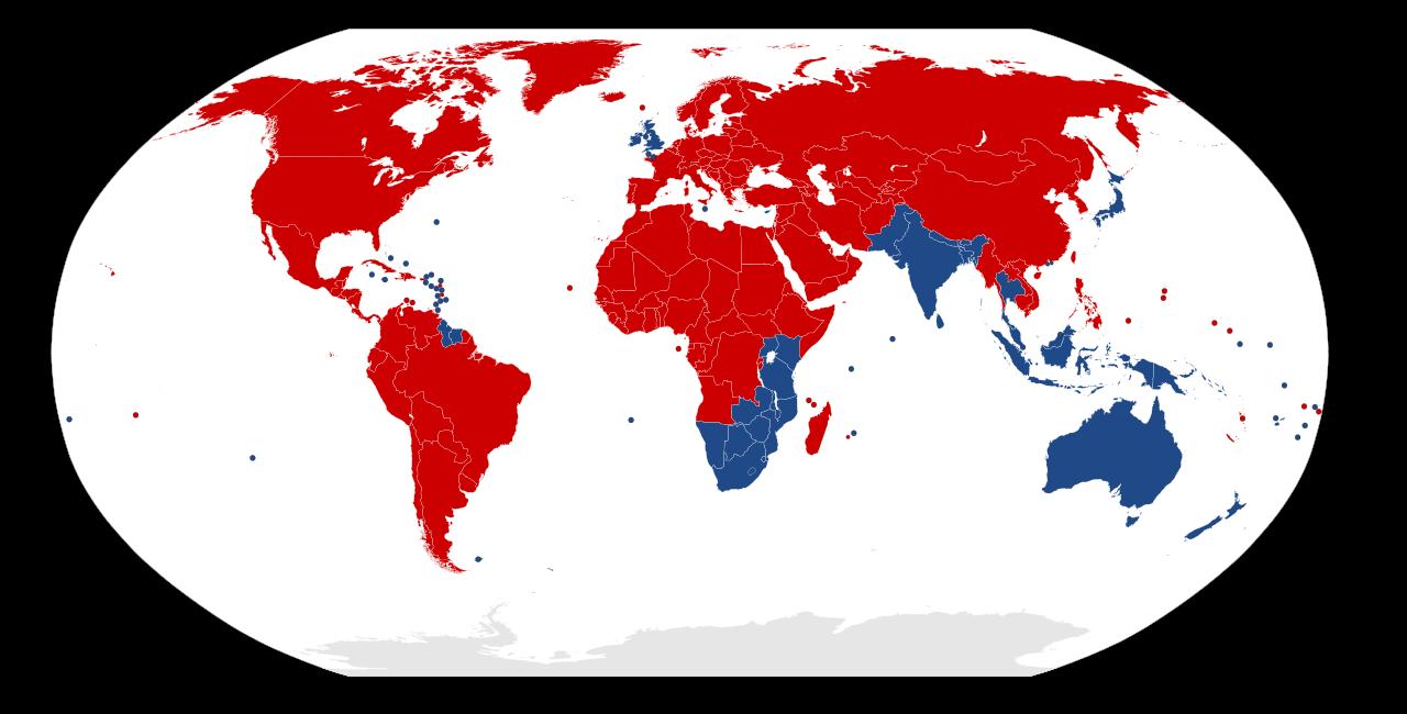 Dünya'da trafiğin sağdan ve soldan aktığı ülkeler