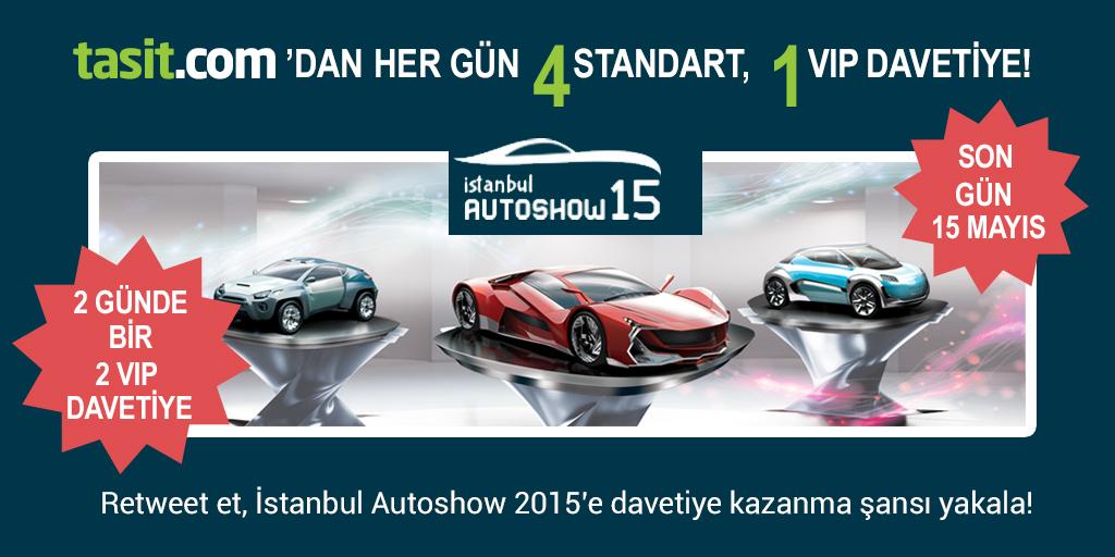 Her gün @tasitcom twitter hesabından yayınlanacak tweet'i retweet et, Autoshow'a davetiye kazan!