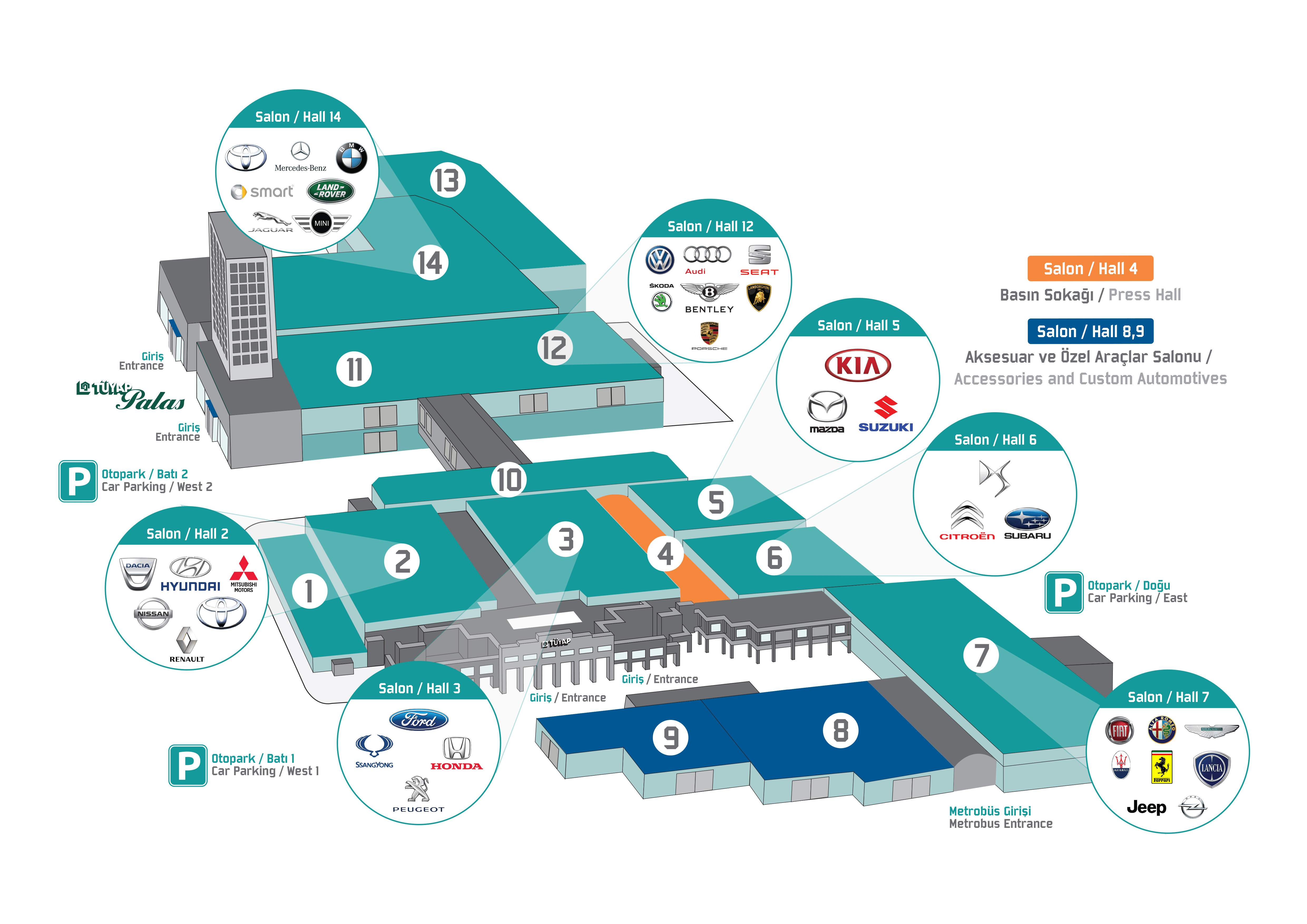 İstanbul Autoshow 2015 yerleşim planı