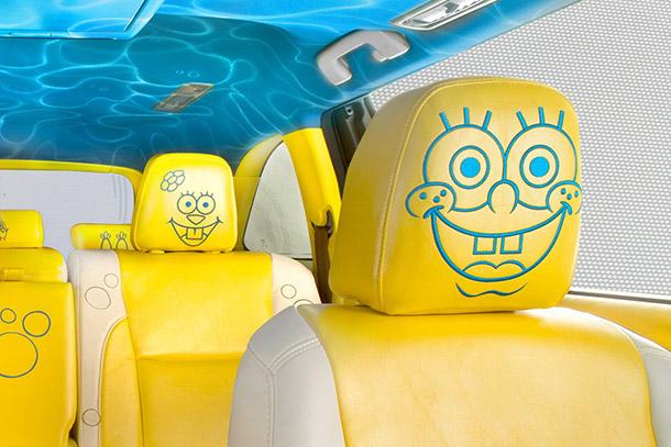 Toyota highlander sünger bob konsept otomobili iç alanda sünger bob desenli koltuk döşemeleri