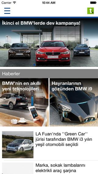 BMW Tasitcom MArka uygulaması, en güncel BMW haberleri, BMW test sürüşü videoları ana ekran