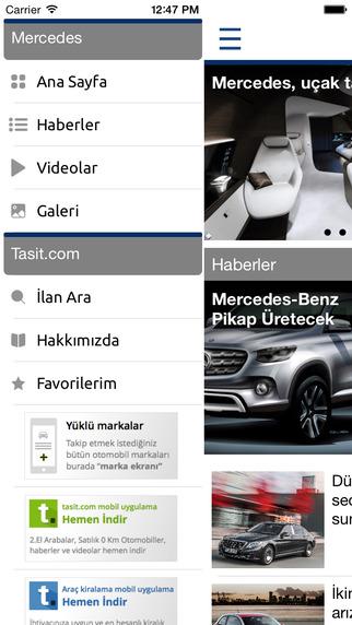 Mercedes Benz Tasitcom marka uygulaması menüleri