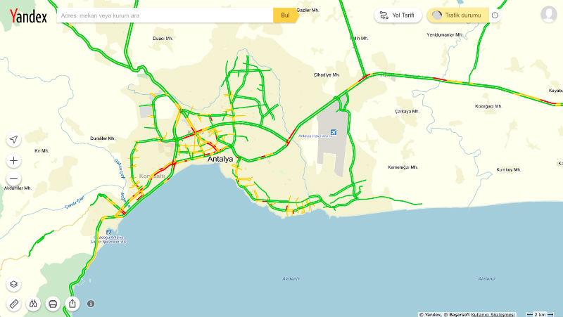 Yandex Trafik Antalya trafiğinin de nabzını tutacak