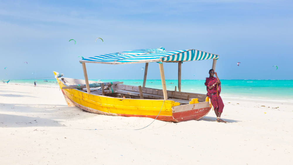 Masaai warrior on paje beach tvlttr