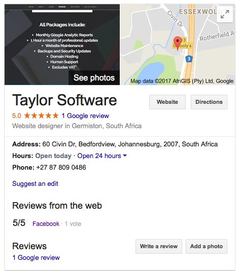 Website Google Business Account