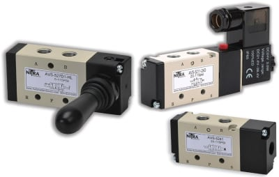 Closed Center Solenoid-Operated Air Control Valve Base Mounted 3 Double Solenoid 5 Port Position