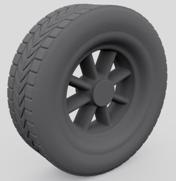 3ds Max tire clay rendered