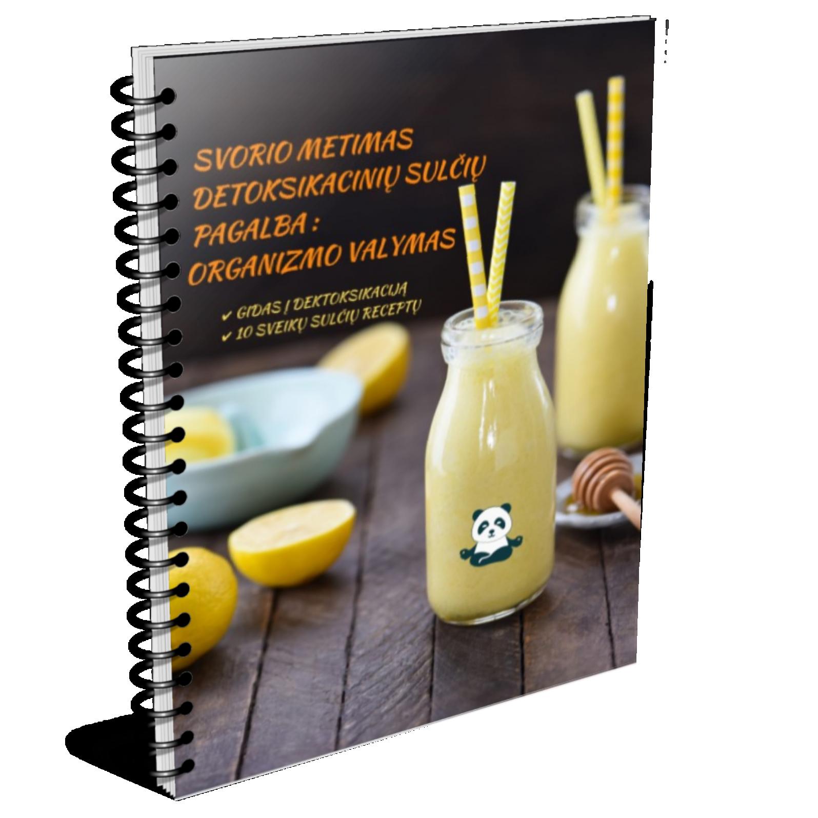 E-book - Sveika Panda - Detoksikacinės sultys - 10 geriausių Detoksikacinių sulčių receptų
