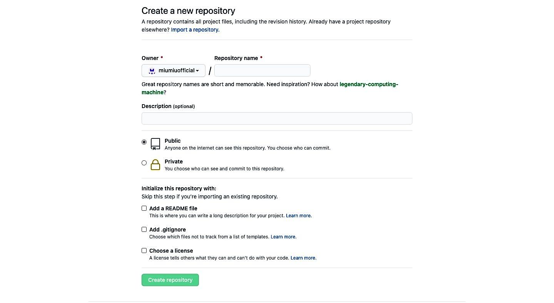 Nhập một tên mới cho repository