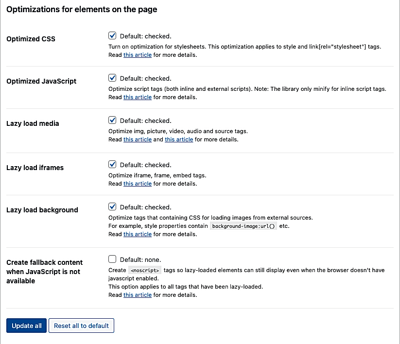 Optimizations for elements on the page
